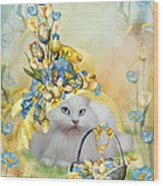 Cat In Yellow Easter Hat Wood Print
