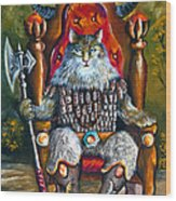 Cat King Wood Print