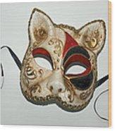 Cat Masquerade Mask On White Wood Print