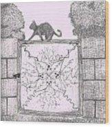 Cat On A Gate Wood Print