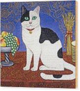 Cat On Thanksgiving Table Wood Print