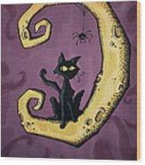 Cat On The Moon Wood Print