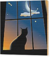 Cat On The Window Wood Print by Aleksey Tugolukov