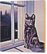 Cat On Window Sill Wood Print
