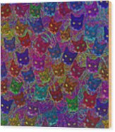 Cat Party Wood Print