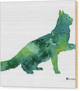 Cat Silhouette Print Watercolor Poster Wood Print
