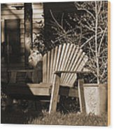 Cat Under Chair Wood Print