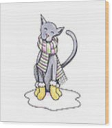Cat Wearing Scarf Wood Print by Christy Beckwith