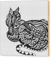 Cat With Design Wood Print