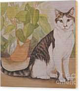 Cat With Plant Wood Print