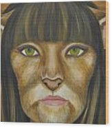 Cat Woman Wood Print