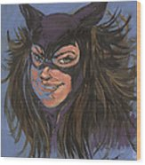 Cat Woman01 Wood Print