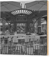 Catal Outdoor Cafe Downtown Disneyland Bw Wood Print
