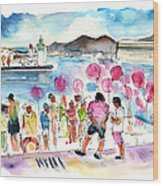 Catamaran Party In Cartagena Wood Print