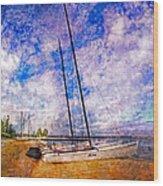 Catamarans At The Lake Wood Print by Debra and Dave Vanderlaan