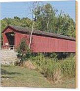 Cataract Falls Covered Bridge Wood Print