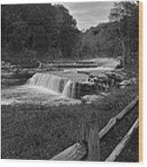 Cataract Falls Indiana Black N White Wood Print