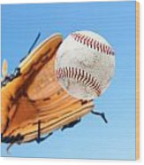 Catching A Baseball Wood Print