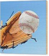 Catching A Baseball Wood Print by Joe Belanger