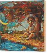 Catching A Goldfish II Wood Print