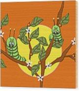 Caterpillars In The Orange Tree Wood Print