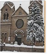 Cathedral Basilica Of St Francis In Snow Wood Print