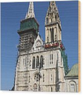 Cathedral In Zagreb Croatia Wood Print