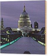 Cathedral Lit Up At Night, St. Pauls Wood Print