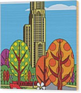 Cathedral Of Learning Wood Print by Ron Magnes