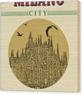 Cathedral Of Milano, Italy  In Vintage Wood Print
