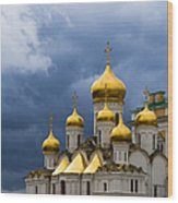 Cathedral Of The Annunciation Of Moscow Kremlin - Square Wood Print