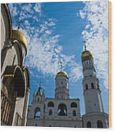 Cathedral Of The Dormition And Ivan The Great Belfry Of Moscow Kremlin Wood Print