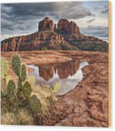 Cathedral Rock After The Storm Wood Print