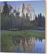 Cathedral Rock And The Merced River Wood Print
