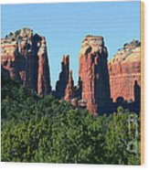 Cathedral Rock Behind The Forest Wood Print