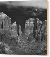 Cathedral Rock Moon Rise Wood Print