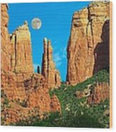 Cathedral Rock Moon Wood Print