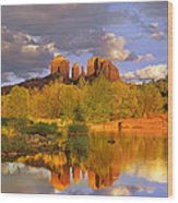 Cathedral Rock Reflected In Oak Creek Wood Print by Tim Fitzharris
