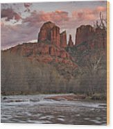 Cathedral Rock Sunset Wood Print by Paul Riedinger