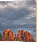 Cathedral Rock Sunset Wood Print by Robert Jensen