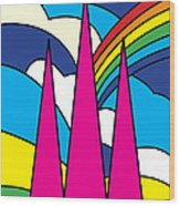 Cathedral Spires Stained Glass Lichfield Wood Print