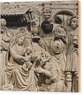Cathedral Wall Nativity Sculpture Wood Print