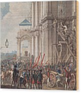 Catherine II On The Balcony Of The Winter Palace, Greeted By Guards And People On The Day Wood Print
