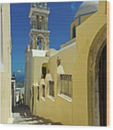 Catholic Cathedral Santorini Wood Print
