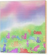 Cats In The Meadow Wood Print