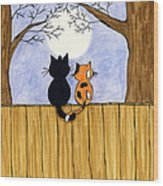 Cats Night Out Wood Print