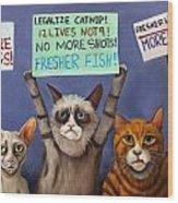 Cats On Strike Edit 2 Wood Print