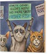 Cats On Strike Edit 3 Wood Print