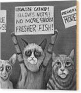 Cats On Strike Edit 4 Wood Print