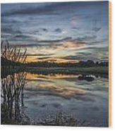 Cattails And Sunset Wood Print